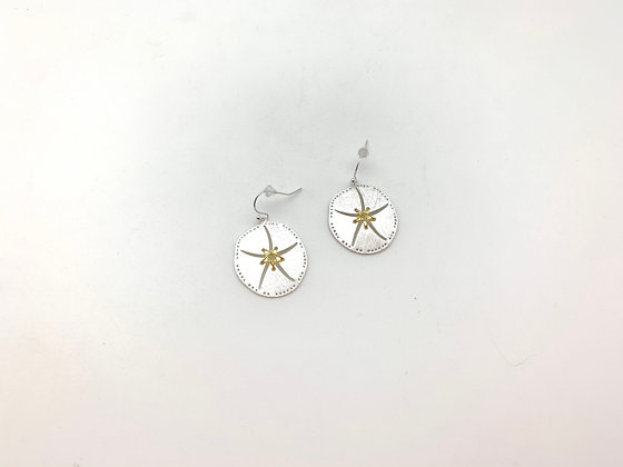 ES397 Silver and Gold Sandollar Earrings