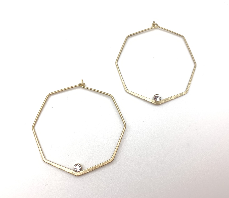 EG432 Gold Geometric Hoop with Sparkle
