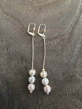 H59 Tri Color Ball Long Earrings
