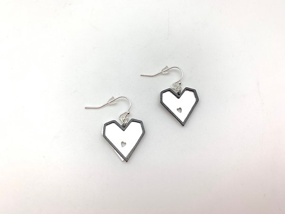 ES401 Silver and Black Kaku Kaku Earrings