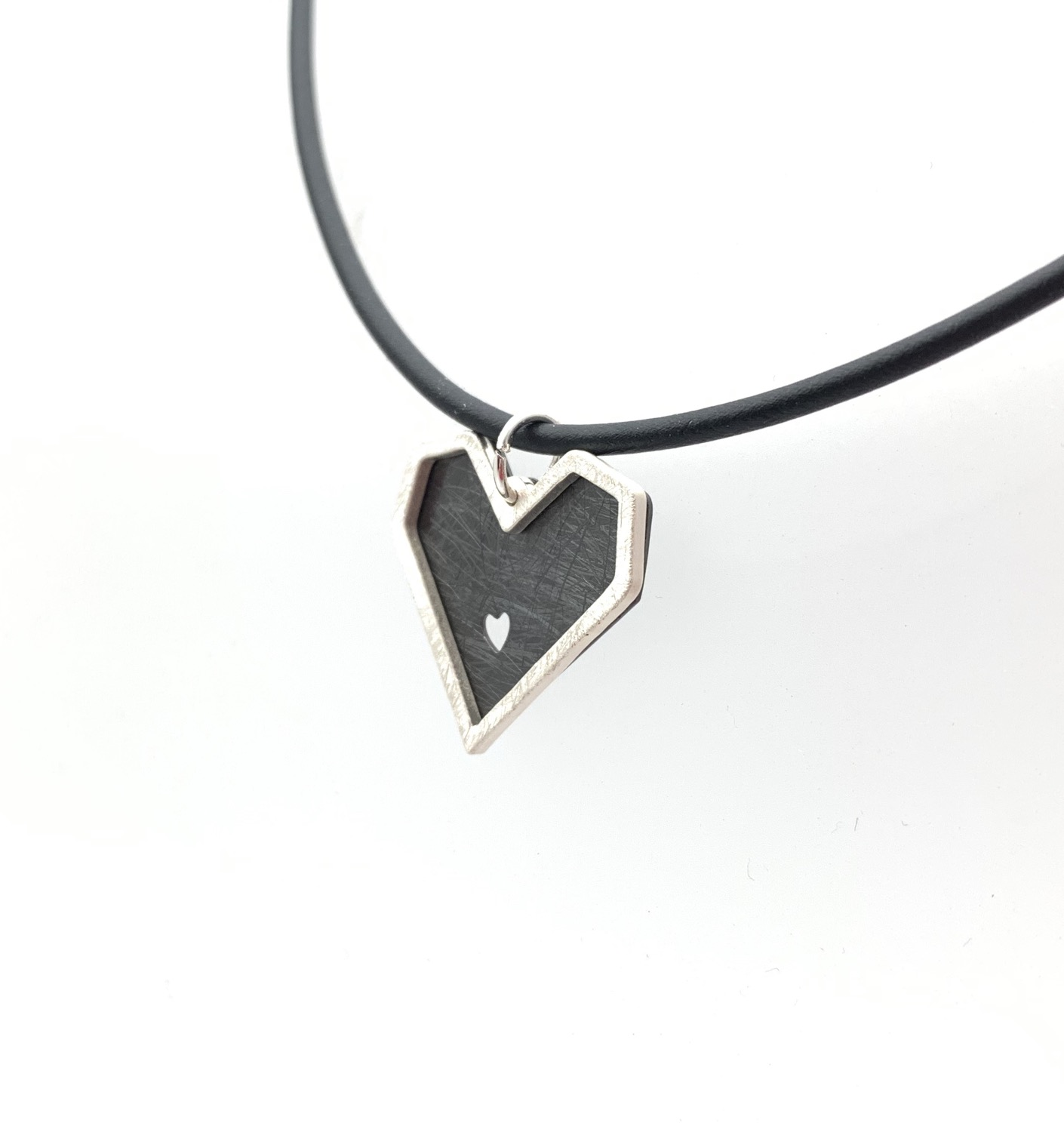 "Thumbnail: NS68 Silver and Black Heart Cord Necklace 16"" to 18"" w/extension"