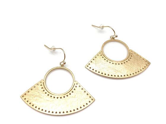 EG394 Gold Fan Sensu Earrings