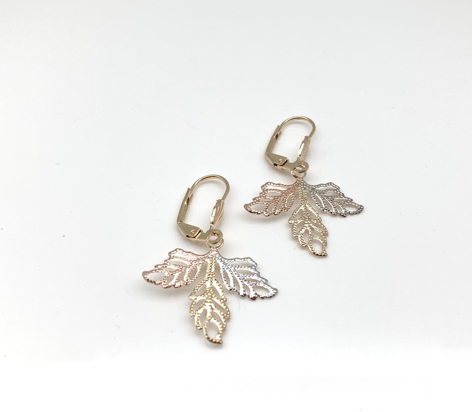 H131 Tricolor Leaf Earrings