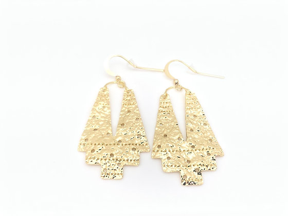 EG376 Gold Haori Kimono Earrings