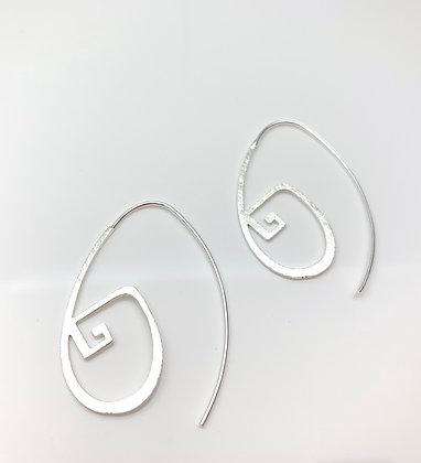 ES339 Silver Greek Key Hoops