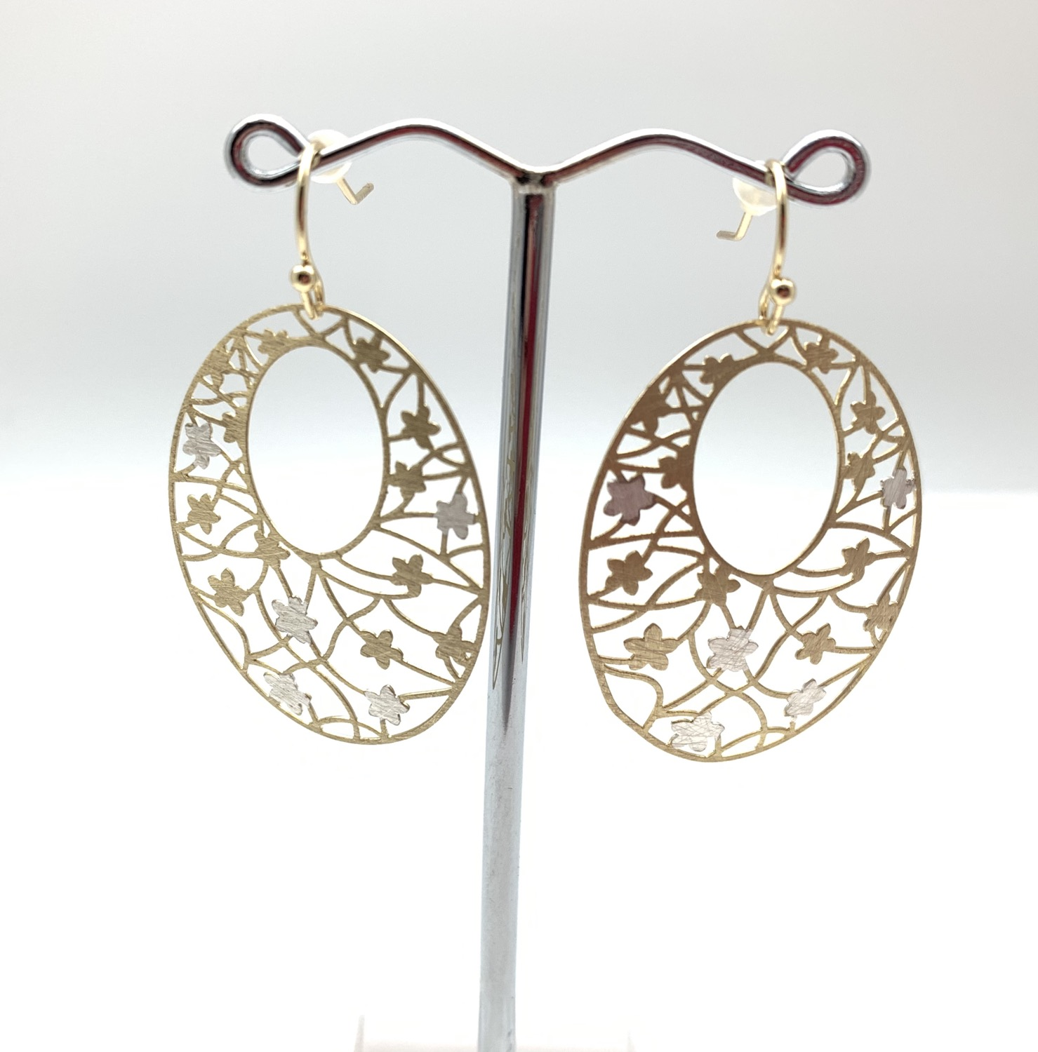 Thumbnail: EG436 Gold and Silver Sakura Earrings
