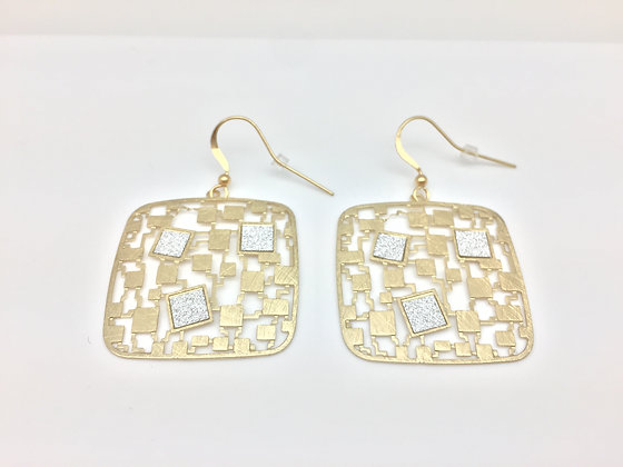 EG73 Gold Square Chiyogami Earrings