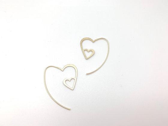 EG428 Gold Heart Hoops