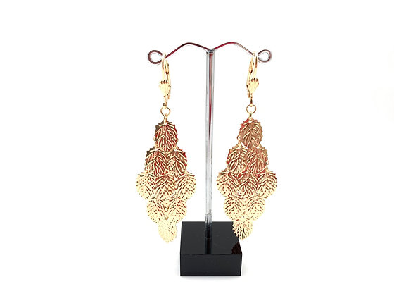 H104 Leaf Cascading Chandelier Earrings