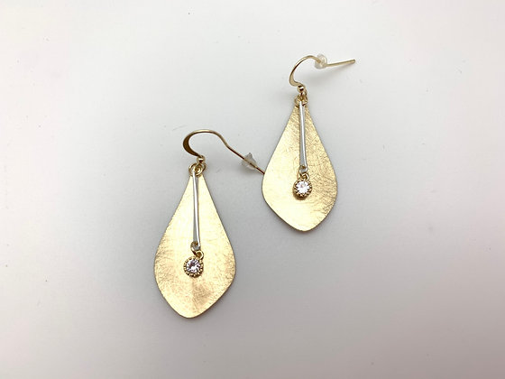 EG418 Gold and CZ Swing Earrings