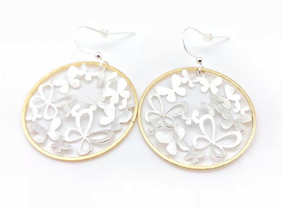 EG239 Two Tone Silver Butterfly in Gold Circle Earrings
