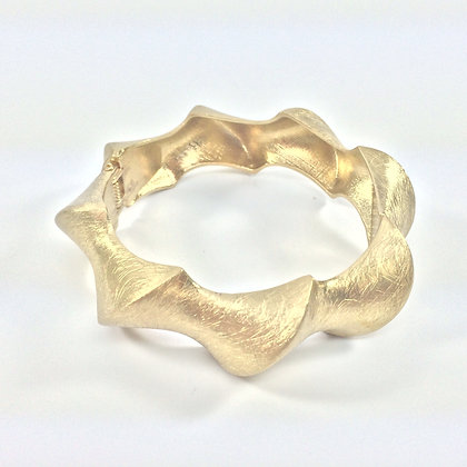 WB9 Gold Ripples Hinged Bracelet, Sale Final Price $8