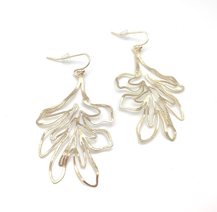 EG344 Gold Tropical Leaf Earrings