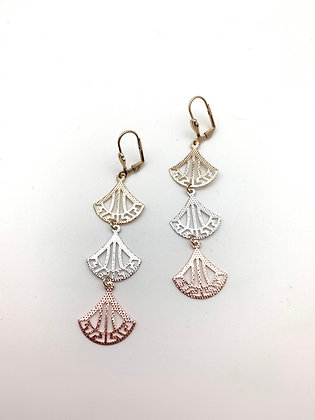 H129 Tricolor Fan Earrings, Best Seller!