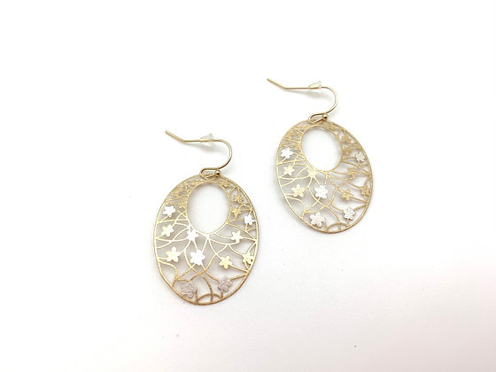 EG436 Gold and Silver Sakura Earrings