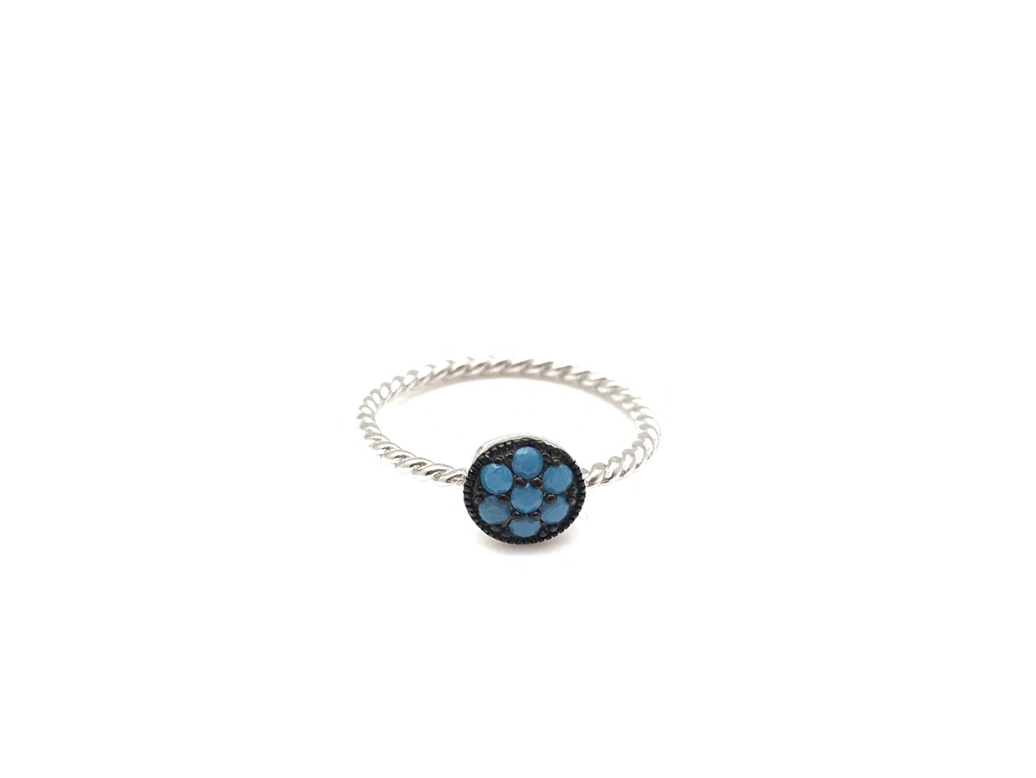 Thumbnail: SR3 Micro Turquoise Flower Sterling Silver Ring Size 5, 6, 7, 8, 9, 10