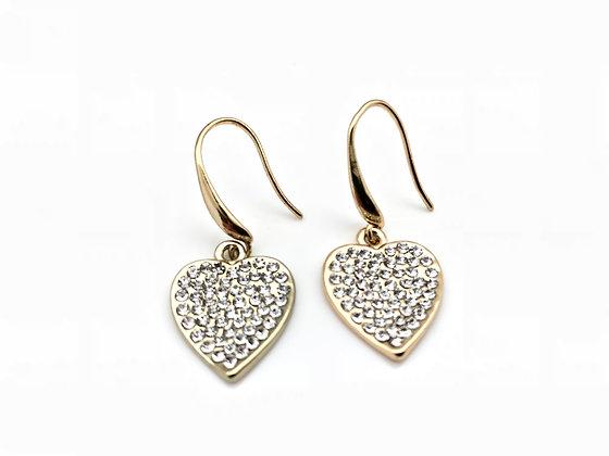 H83 Sparkling Heart Earrings