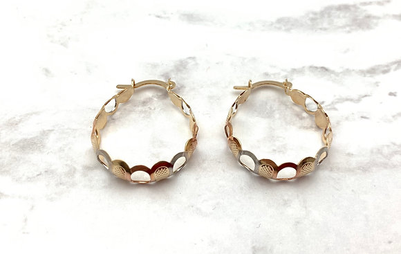 H163 Tricolor Cut Out Hoop Goldfill Earrings