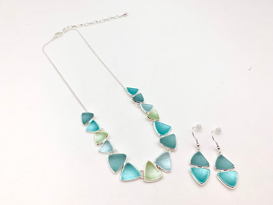 "#104 Green ""Takara"" Sea Glass Necklace Earrings Set"