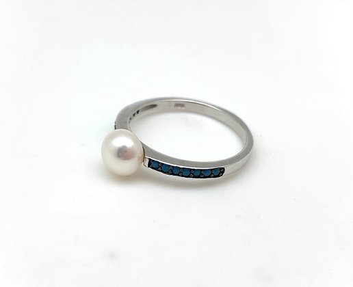 SR17 Turquoise Pearl Silver Ring