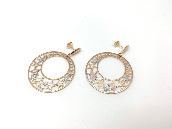 H140 Tricolor Star Circle Earrings