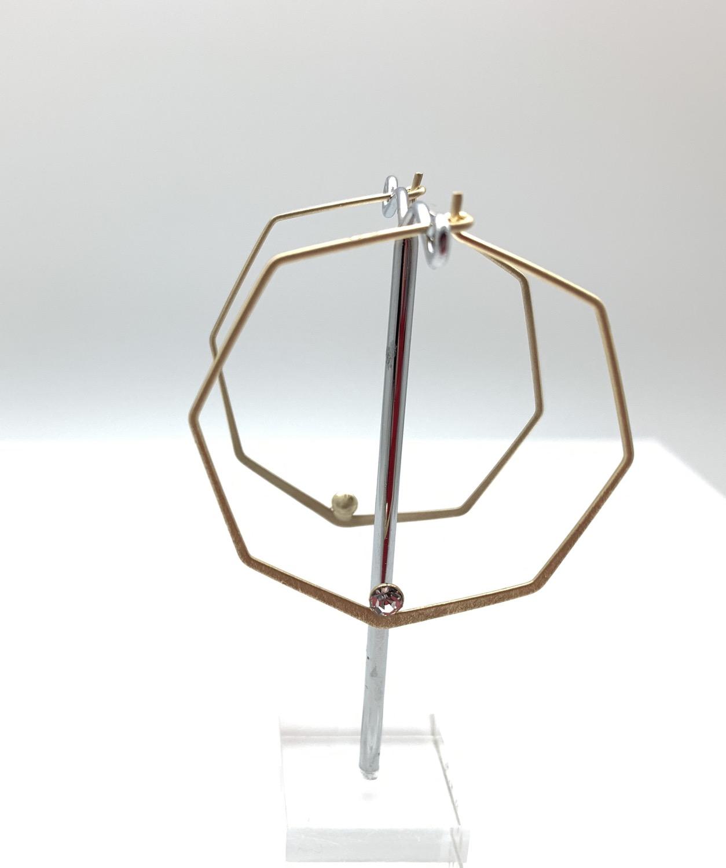 Thumbnail: EG432 Gold Geometric Hoop with Sparkle