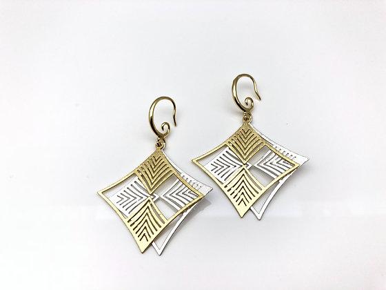 EG283 Gold and Silver Two Tone Ichimatsu Earrings