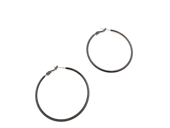 EB415 Black Matte Perfect Skinny Hoops, New Color as Requested