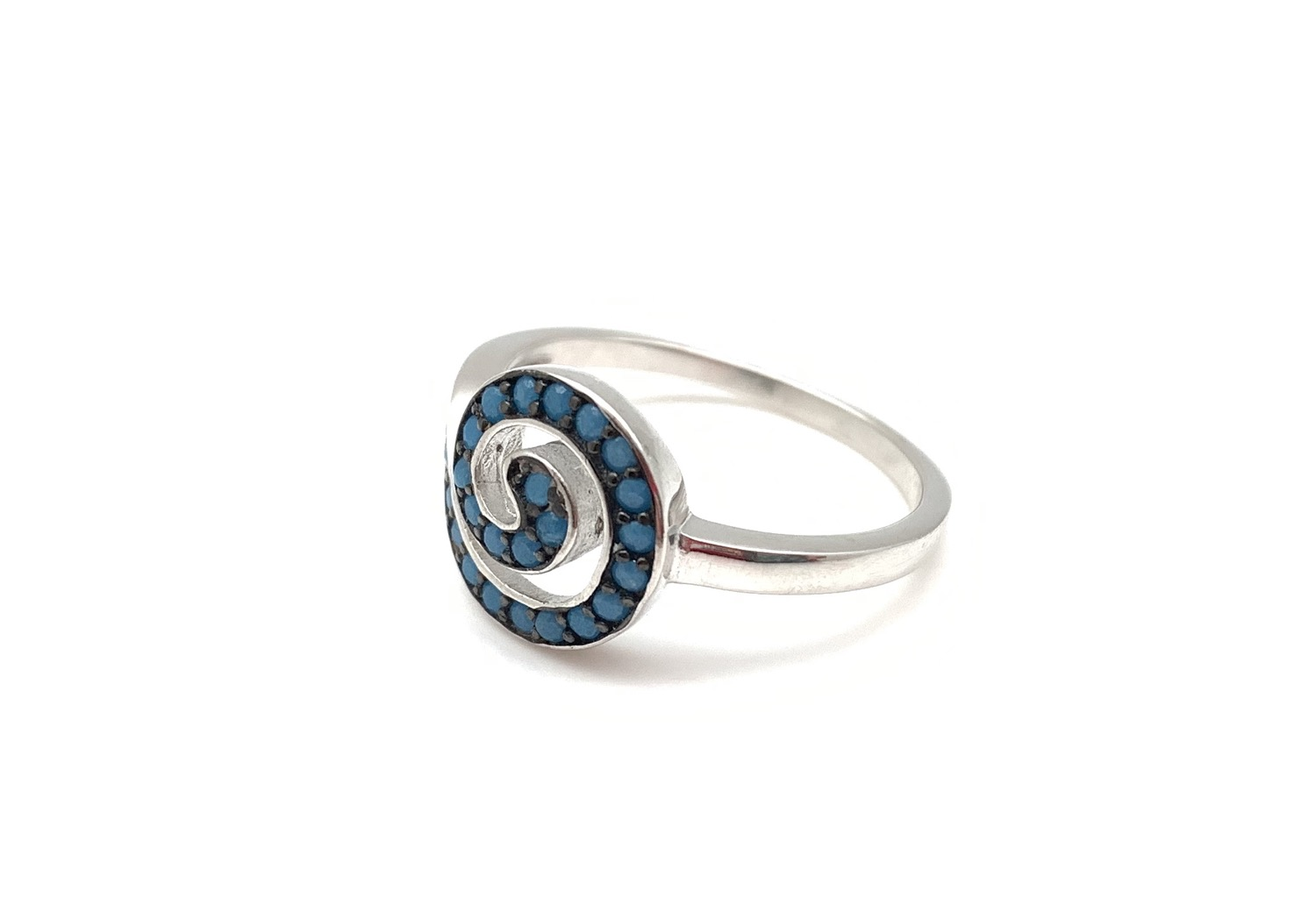 Thumbnail: SR4 Micro Turquoise Sterling Silver Swirl Ring Size 5, 6, 7, 8, 9, 10