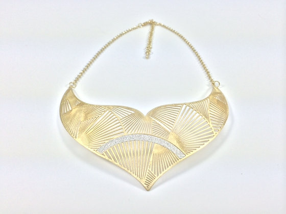 N113 SALE Final Sale $15 Gold Kimono Bib Necklace
