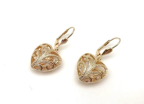 H173 Swirl Heart Gold Earrings