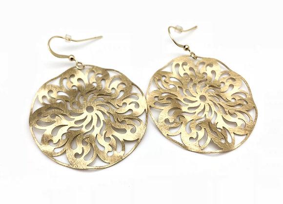 EG227 Gold Kazaguruma Earrings