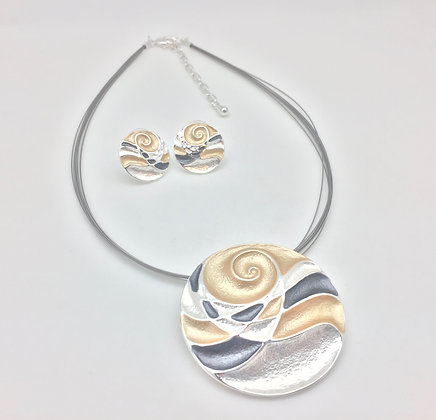 #42 Sunset Wave Disk Necklace and Er set