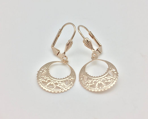 H11 Disk Cutout Earrings, Gold Fill, Lever Wires