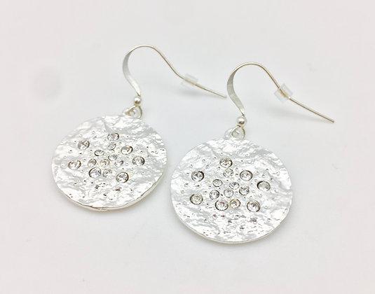 ES136 Silver Meteorite Earrings