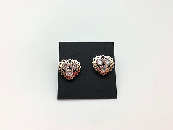 H113 Gold 3D Heart Earrings with CZ