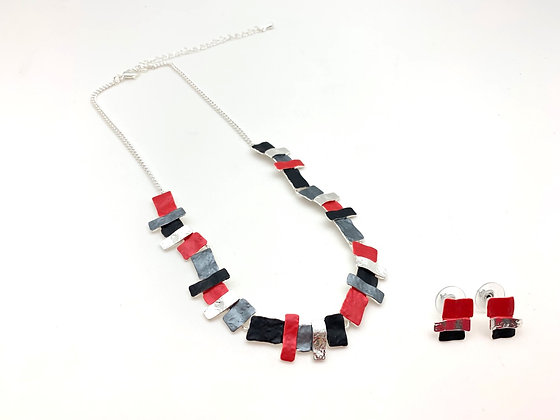 #98 Red Mosaic Necklace Earrings Set