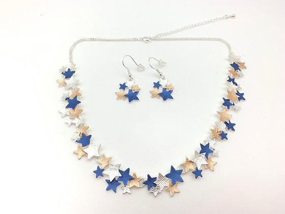 #88 Blue Starry Nights Necklace and Earrings Set