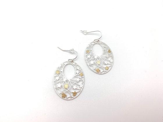 ES437 Silver and Gold Sakura Earrings