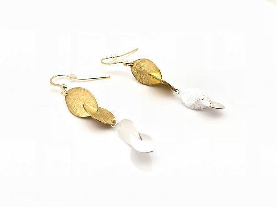 EG191 New! Gold and Silver Konoha Earrings