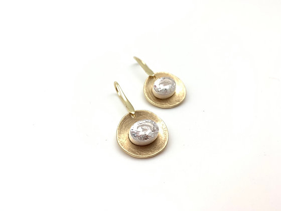EG430 Gold and Silver Swarovski Drop Earrings (Matching Necklace NG69)