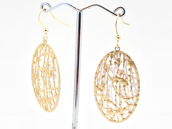 EG 241 Two Tone Suzu Earrings, Gold and Silver, Gold Wire