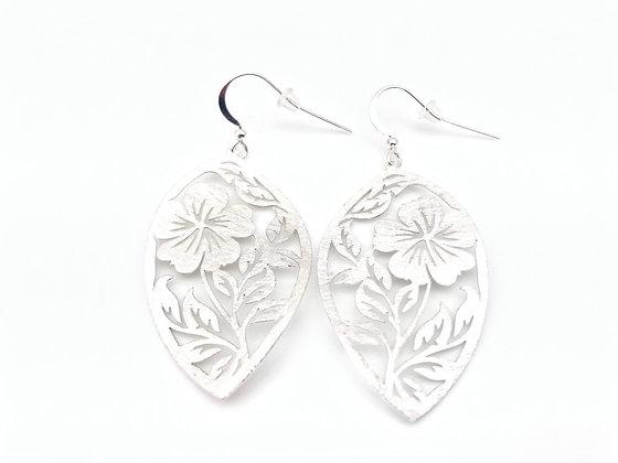 ES379 Silver Happy Hibiscus Earrings