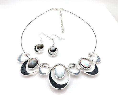 #65 Gray Olives Necklace and Earrings Set