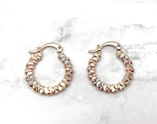 H158 Tricolor textured Goldfill Hoop Earrings