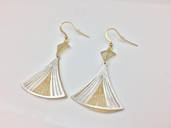 ES60 Two Tone Silver Dancing Sensu Earrings
