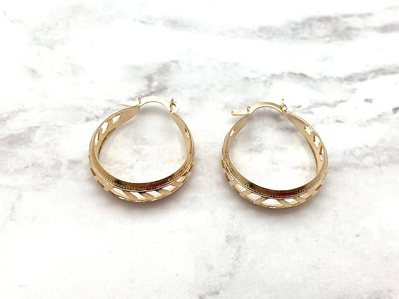 H164 Chevron Cut Out Goldfill Hoop Earrings
