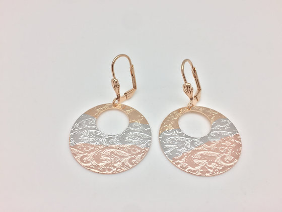 H56 2 Tone Disk Earring, Gold Fill, Lever Wires