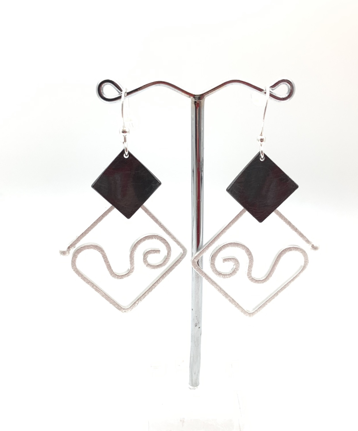 Thumbnail: ES441Silver and Black Origami Swing Earrings