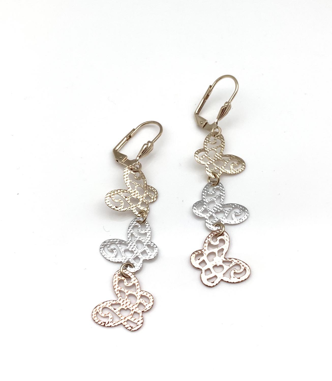H127 Tricolor Butterfly Dangly Earrings, Best Selling
